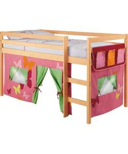 Shorty Mid Sleeper Pine Bed Frame With Pink Tent