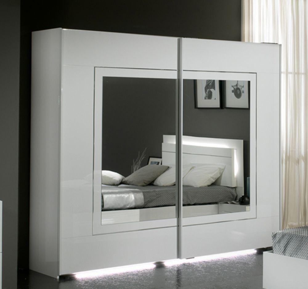 Armoire 2 Portes Coulissantes City Laque Blanc Chambre Coucher  # Armoire Moderne Et Meuble Tv De Chambre