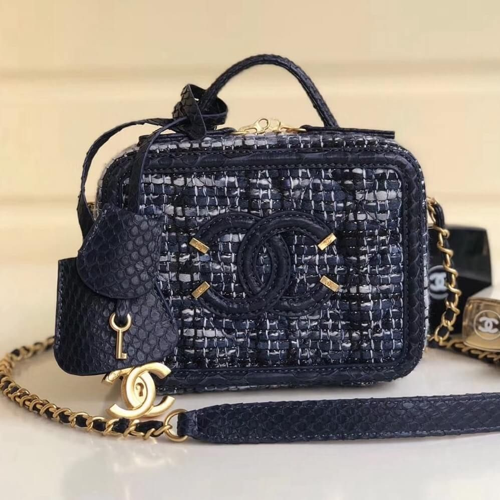 a0f763326553 Chanel CC Filigree Small Vanity Case Bag In Tweed and Python A93342 2018