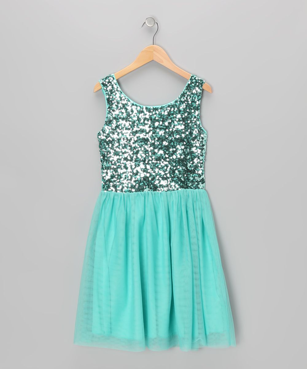 Turquoise Sequin Dress - Toddler & Girls | Daily deals for moms ...