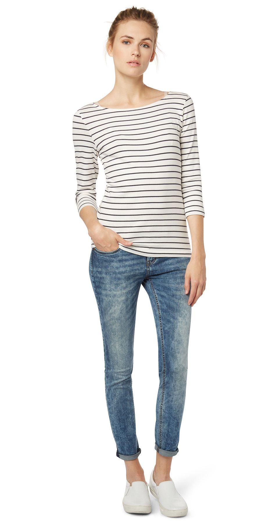 Carrie Jeans In Ankle Lange Fur Frauen Unifarben Klassisch Mit Knopf Und Reissverschluss Vorne Tom Tailor Torn Jeans Fashion Style
