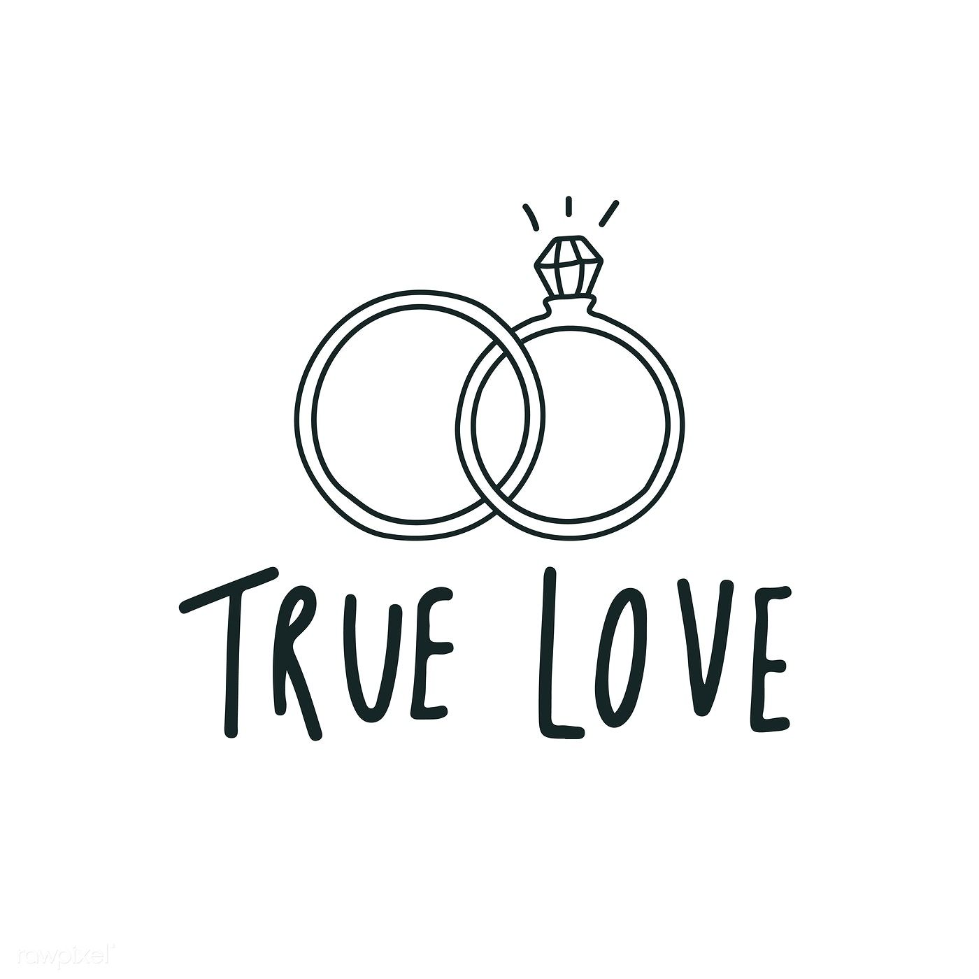 True Love Typography With Wedding Rings Vector Free Image By Rawpixel Com Aum