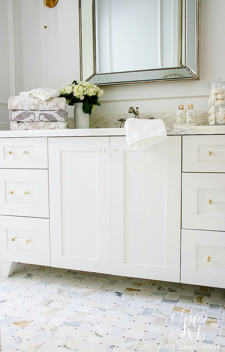 Glam Transitional Guest Bathroom Reveal - with Marble Silver and ...