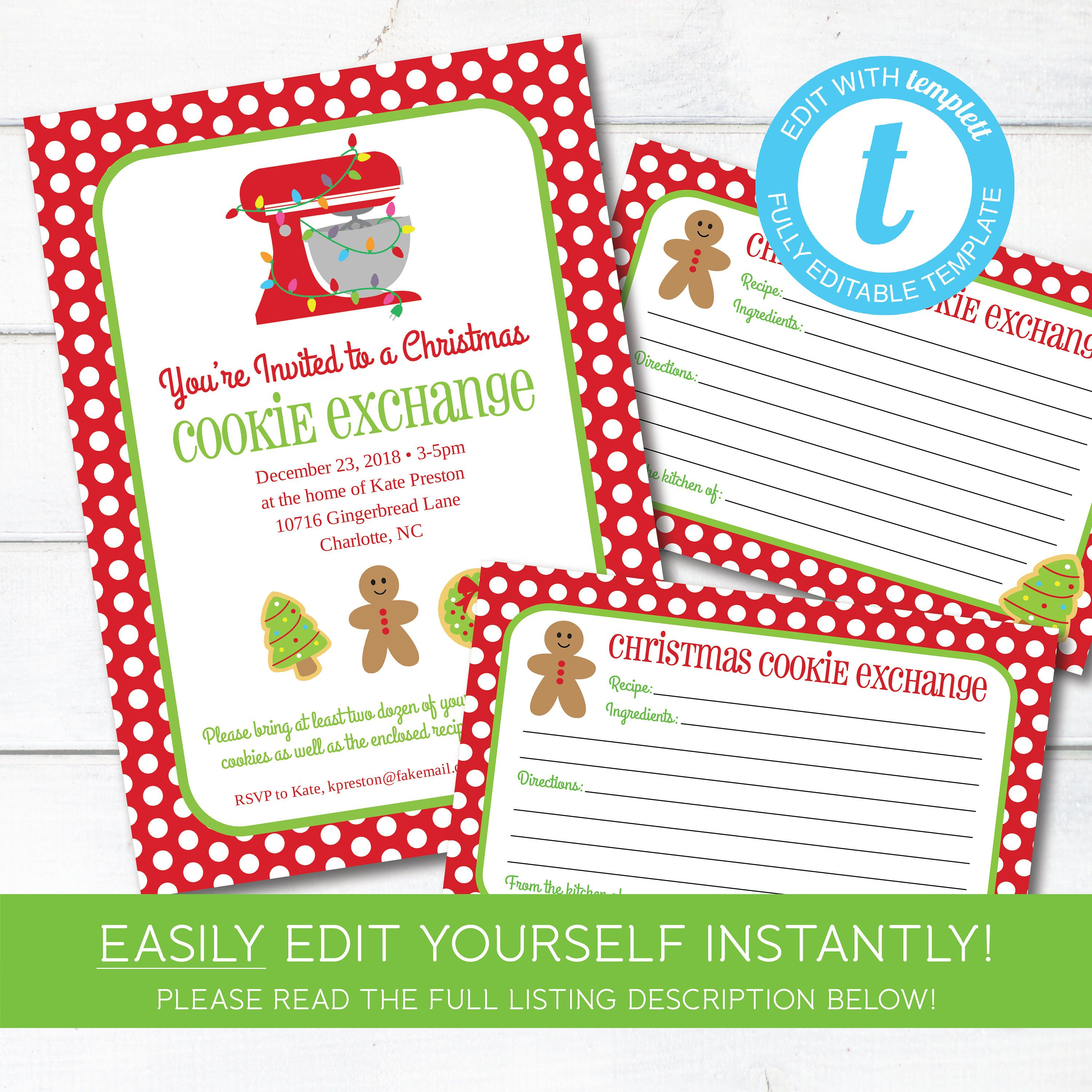 Editable Cookie Exchange Christmas Party Invitation And Recipe Cards Instant Download Holiday Cookie Party Christmas Party Invitations Recipe Cards Template