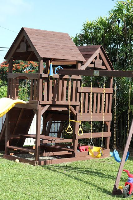 Diy Wood Staining A Kids Swing Set Livin The Mommy Life Swing Set Swing Sets For Kids Kids Swing