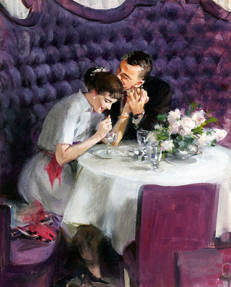 A Romantic Dinner Artwork By John Gannam 1957 With Images