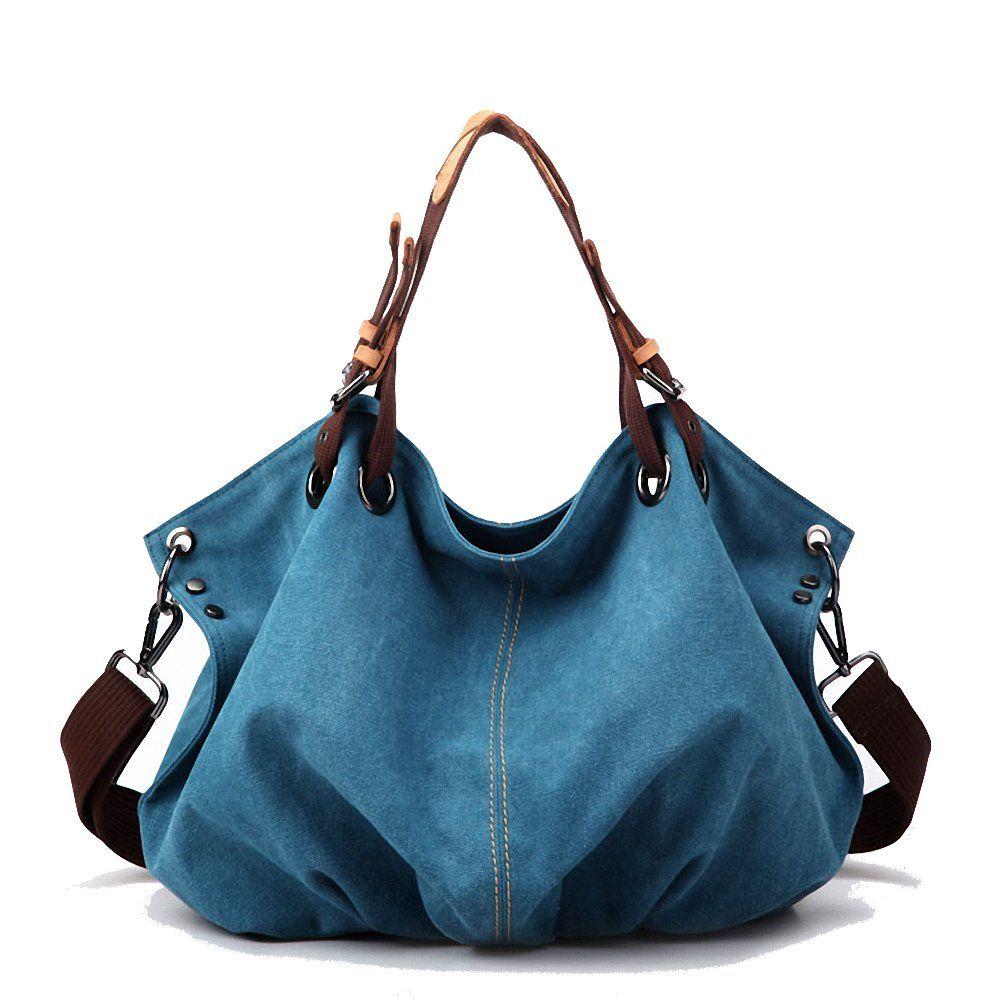 Artone KayLena Series Women's Water Resistant Blue Canvas Shoulder Bag