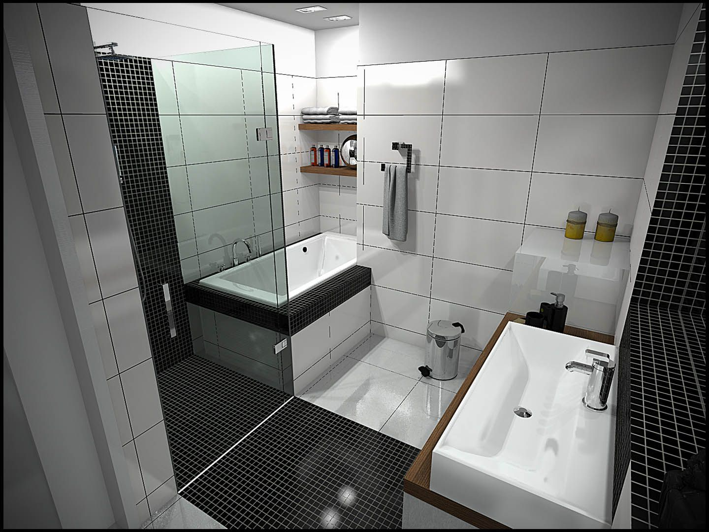 modish small bathroom interior design in black and white colors with black and white ceramic tiles