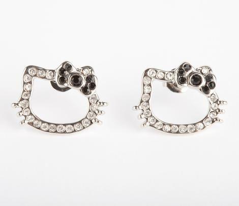 Hello Kitty Rhinestone Outline Earrings: Black | Jewelry ...
