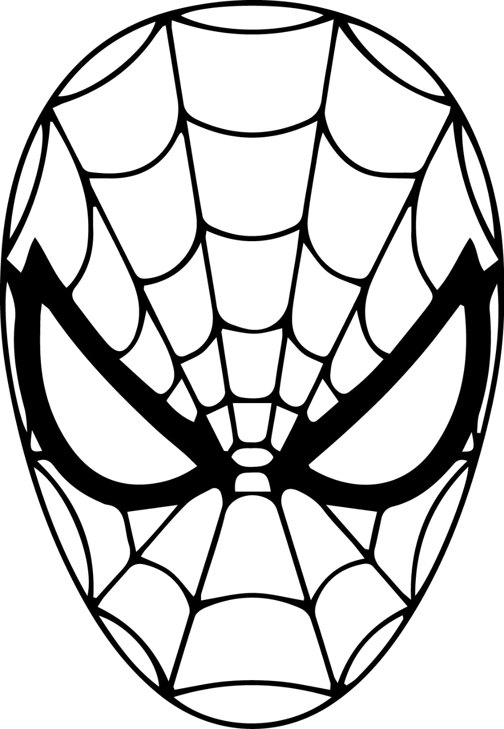 Spiderman Face Drawing Mask Coloring Page - Spiderman Drawing