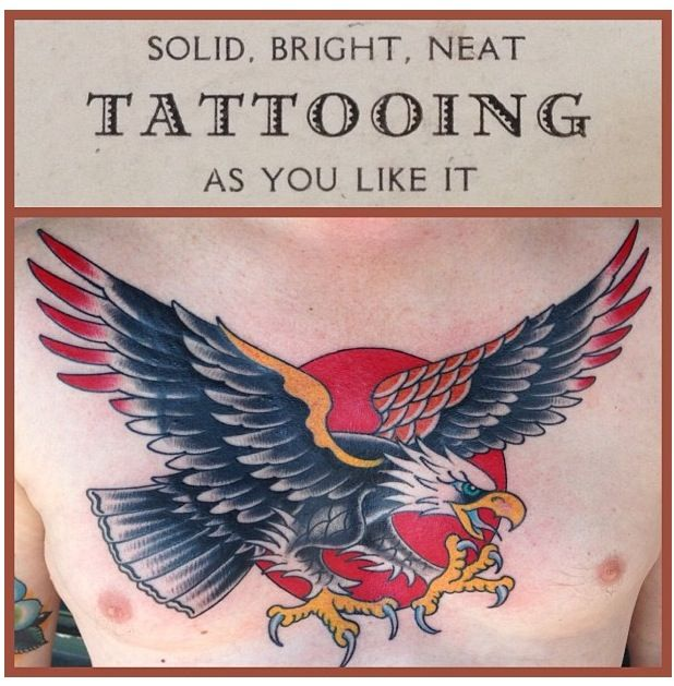 American Traditional Eagle Tattoo Sailor Jerry Inspired Done By