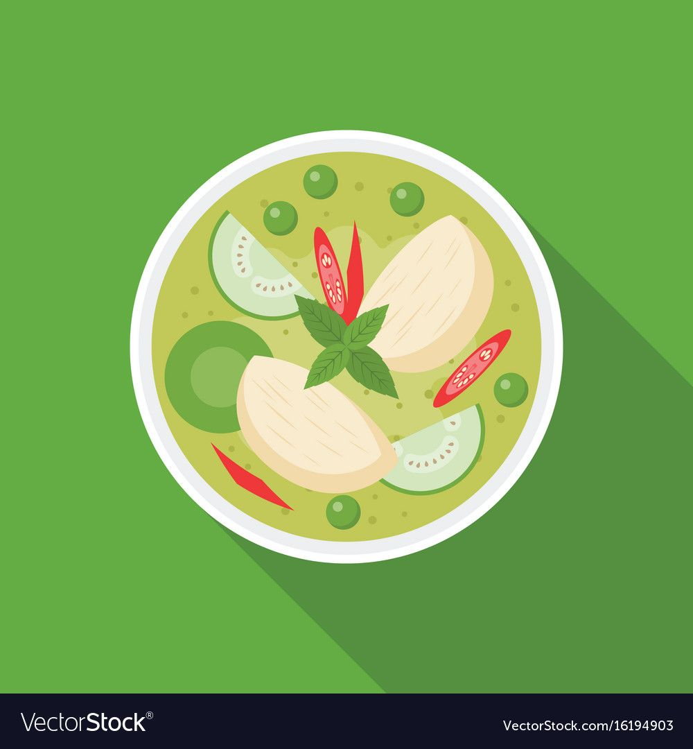 Thai Food Chicken With Green Curry Flat Design Download A Free Preview Or High Quality Adobe Illustrator Ai Green Curry Thai Recipes Thai Food Photography