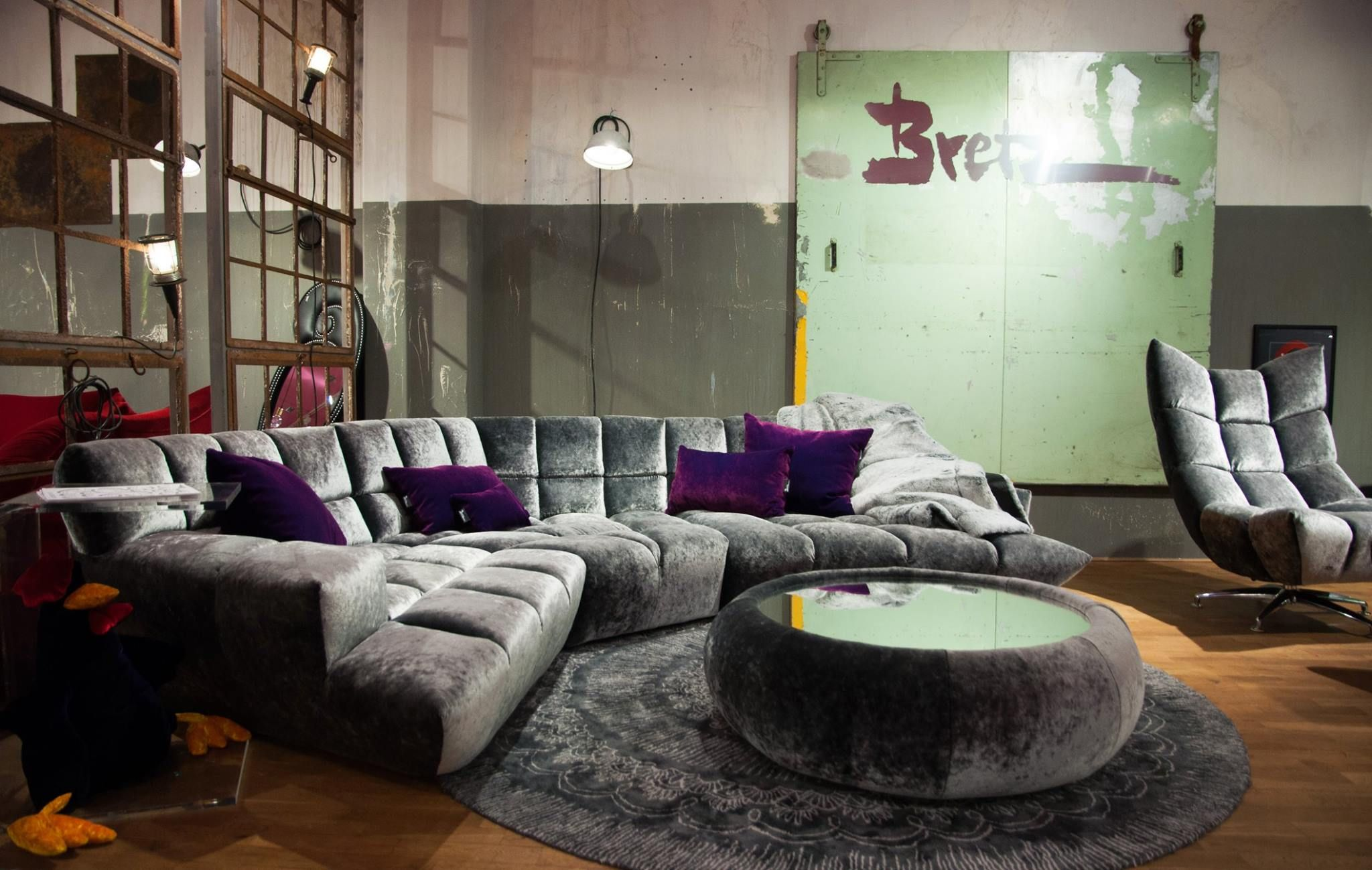 Bretz Cloud 7 cloud 7 sofa upholstered in shimmering silver grey velour flagship bretz store in dusseldorf