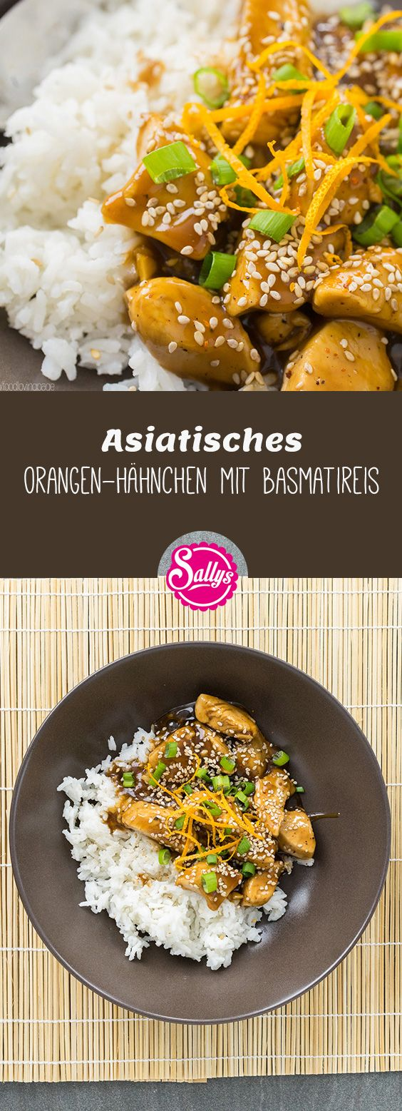 Photo of Juicy chicken pieces in sweet-spicy orange sauce and basm …