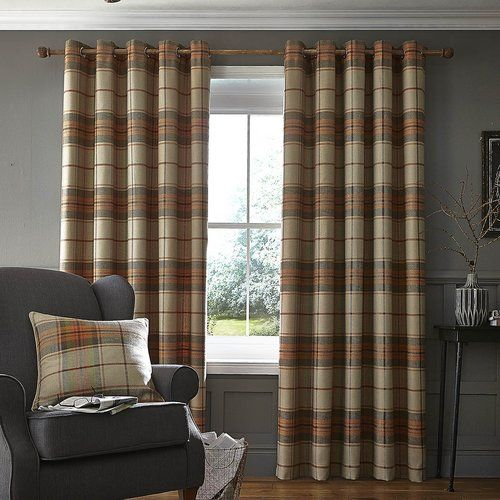 Catherine Lansfield Brushed Heritage Check Eyelet Curtains
