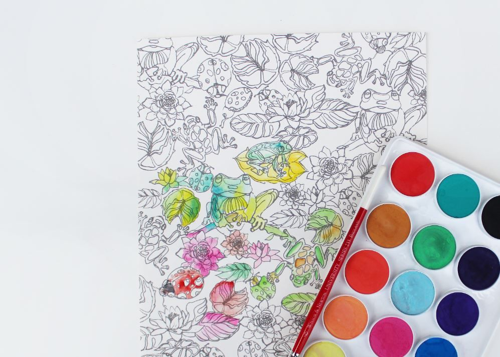 Take Your Coloring Adventure To The Next Level With Watercolor The Frogs Pattern From Painterly Days The Woodl Coloring Books Watercolor Books Watercolor