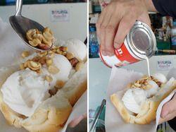 Ice Cream Sundae on a Hot Dog Bun in Thailand