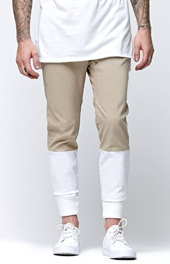 5a3fb956ce75 PacSun presents the Modern Amusement Pieced Canvas Jogger Pants for men.  These two tone men s jogger pants comes with a comfortable feel