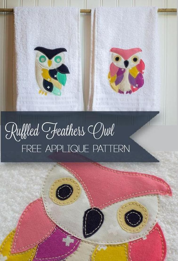 Ruffled Feathers Owl (free applique) | Craftsy | Craftroom | Pinterest