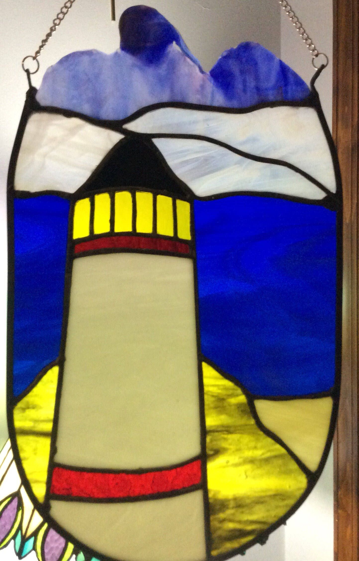 Stained Glass Lighthouse Wall Art Sun Catcher | Glass, Etsy and ...