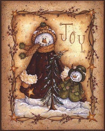 Snow Folk Joy by Mary Ann June art print