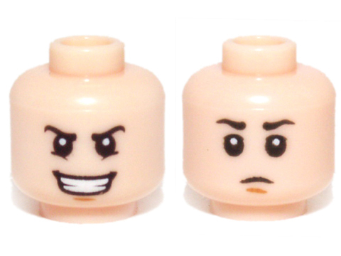 LEGO NEW LIGHT FLESH MINIFIGURE DUAL HEAD WITH BROWN EYEBROWS AND EYELASHES