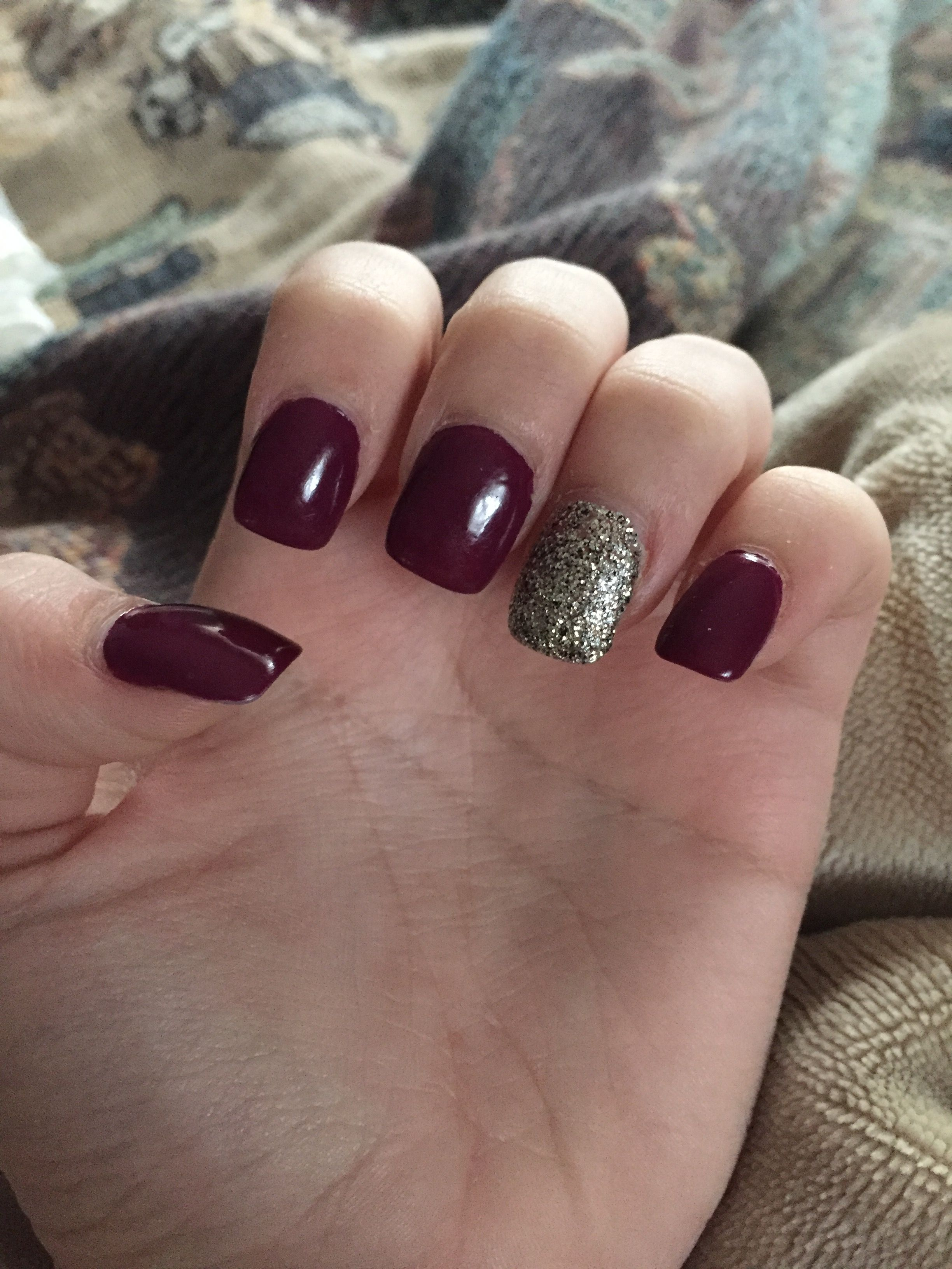 Wine Color Nails : color, nails, Acrylic, Nails, Purple/wine, Color, White, Nails,, Manicure,, Designs