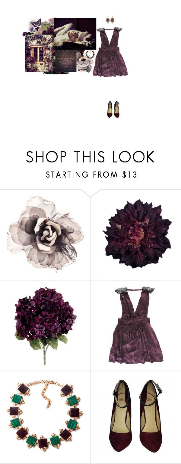 """""""I was always attracted not by some quantifiable, external beauty, but by something deep down, something absolute. Just as some people have a secret love for rainstorms, earthquakes, or blackouts, I liked that certain undefinable something."""" by babytangerine ❤ liked on Polyvore featuring Bundle MacLaren Millinery, Dahlia, Kimberly McDonald, Eshvi and Za"""