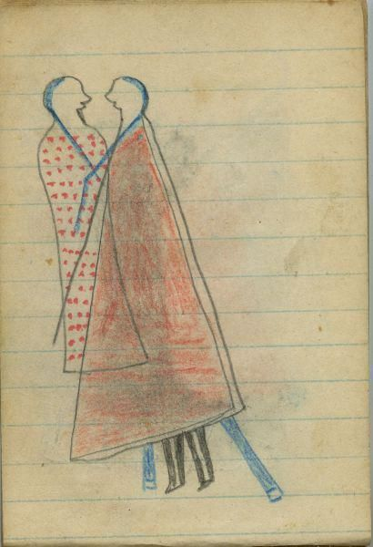 Plains Indian Ledger Art: Wild Hog Ledger-Schøyen - COURTING: Man in Red Blanket…