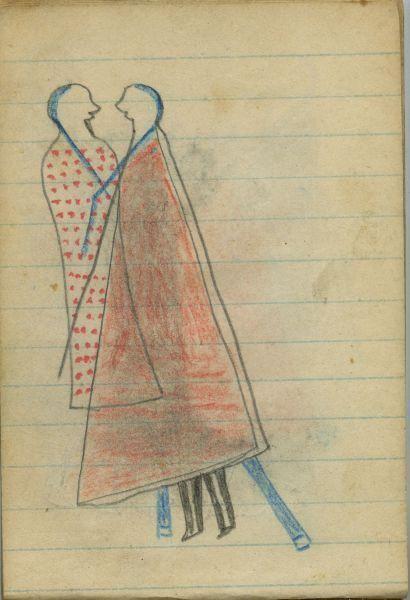 Plains Indian Ledger Art: Wild Hog Ledger-Schøyen - COURTING: Man in Red Blanket…