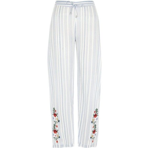 River Island Blue stripe embroidered pajama pants ( 36) ❤ liked on Polyvore  featuring intimates 65c9c4492