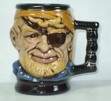 Vintage Coffee Mug Cup Stein Toby Character Pirate Man Ceramic   FREE SHIPPING