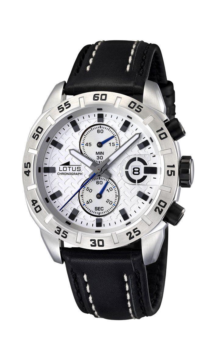 Lotus 15682/1 - Reloj cronógrafo de cuarzo para hombre con correa de piel, color negro: Amazon.es: Relojes