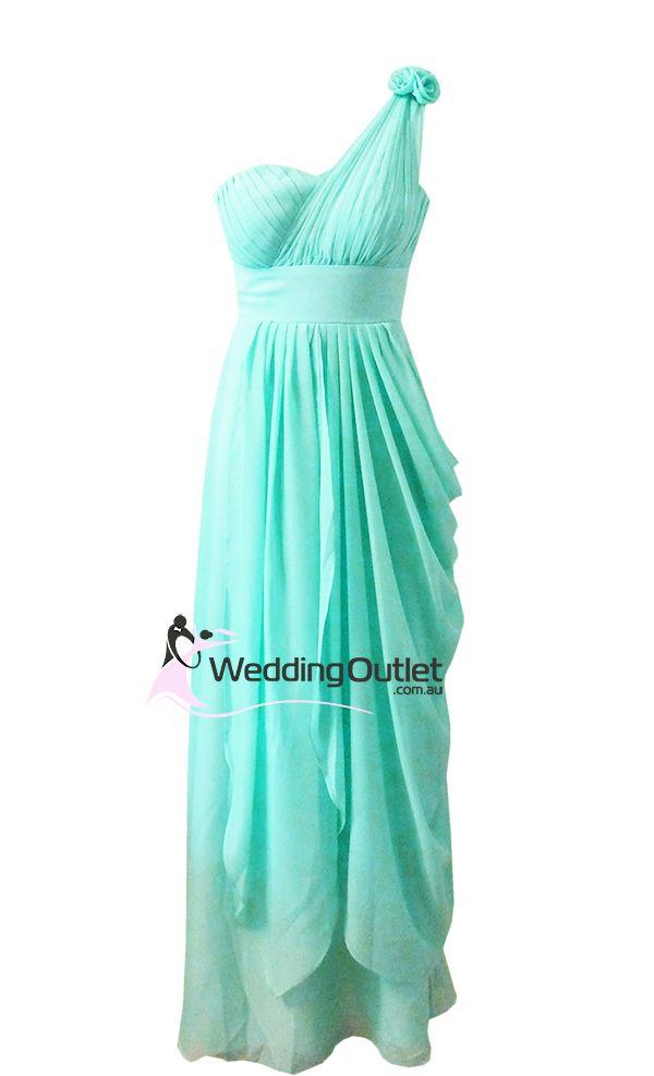 Aqua colored long bridesmaids dresses aqua greek style for Aqua blue and white wedding dresses