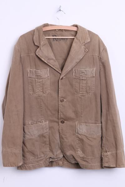 REPLAY Mens L Jeans Blazer Brown Cotton Single Breasted Jacket - RetrospectClothes
