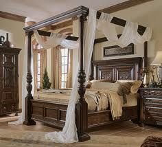 Pillar Bed With Drapes Canopy Bed Frame Luxury Bedroom