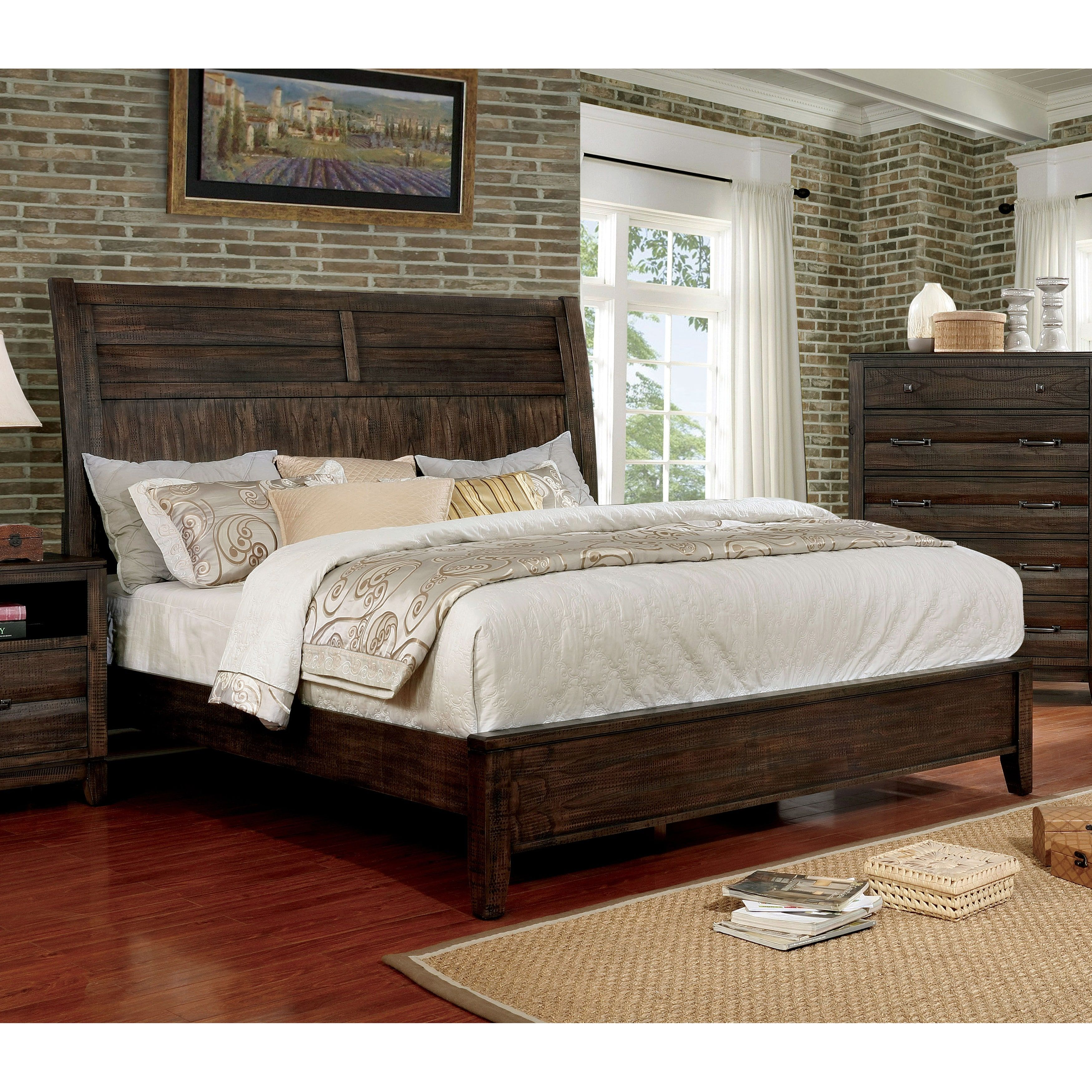 Furniture of America Cekel Rustic Contemporary Walnut Finish Wooden ...