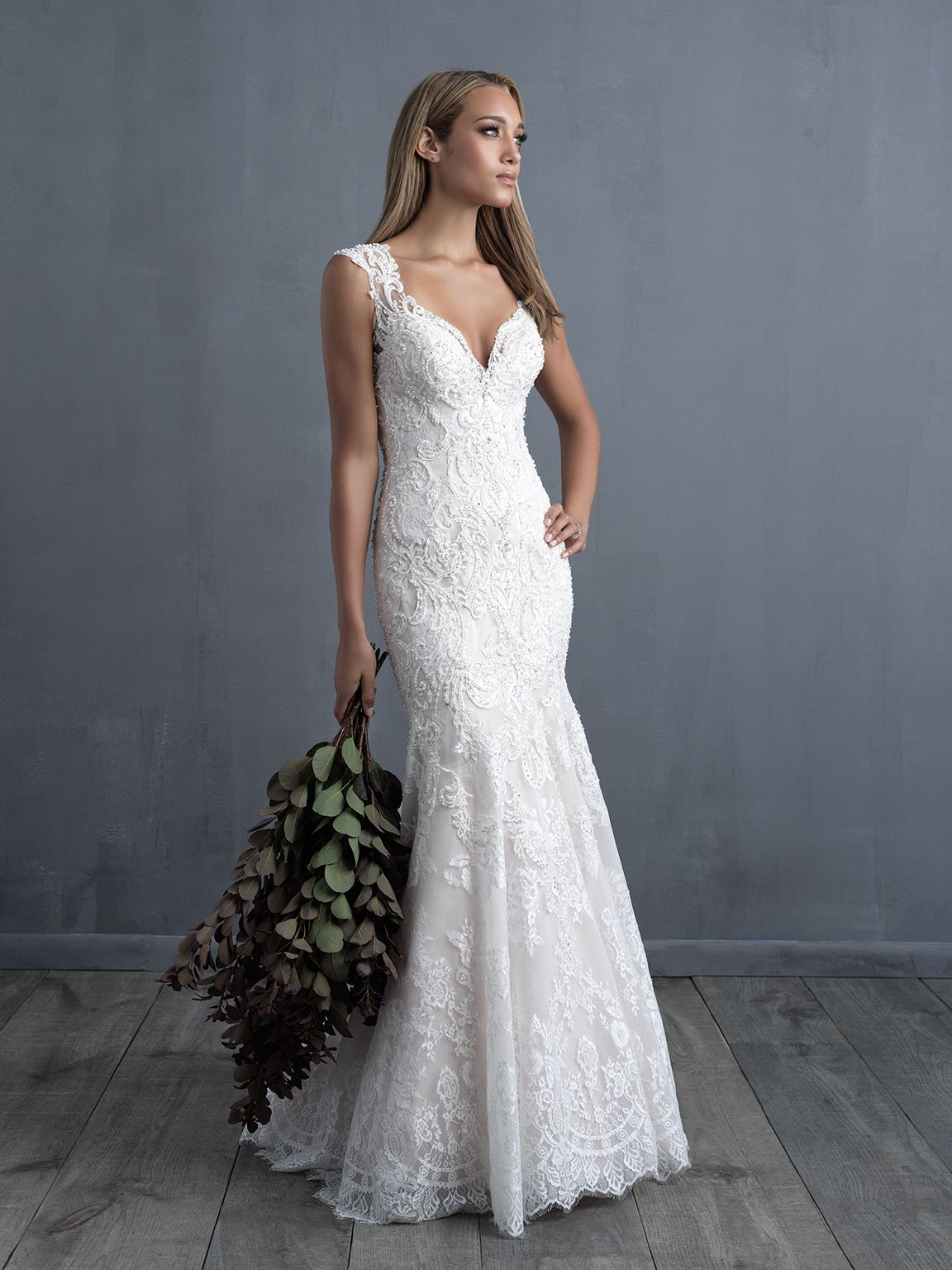 Allure Couture C490 Ivory/Nude Size 12 | Webster-Bridal Gowns ...
