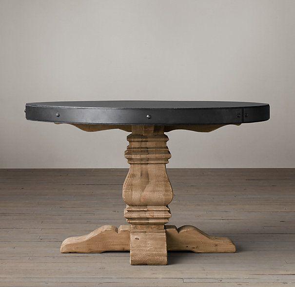 Salvaged Wood Concrete Trestle Round Dining Table Kursi Meja
