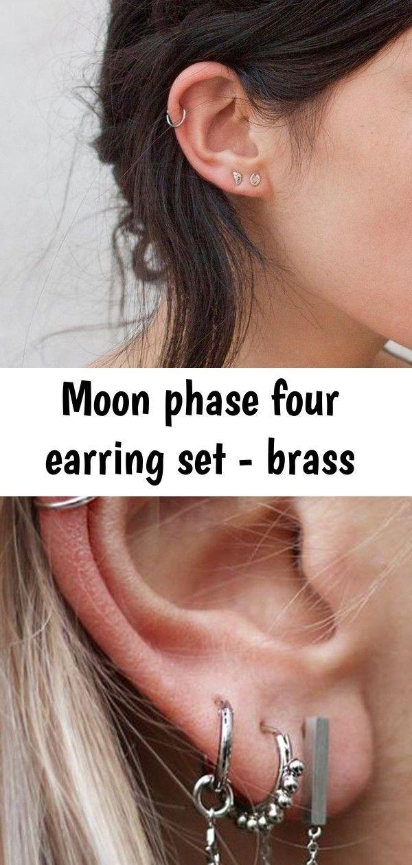 Moon phase four earring set - brass #earpiercingideas