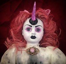 Unicorn Girl Weird Fantasy Doll Pink Hair Creepy Ooak Gothic Art Horror