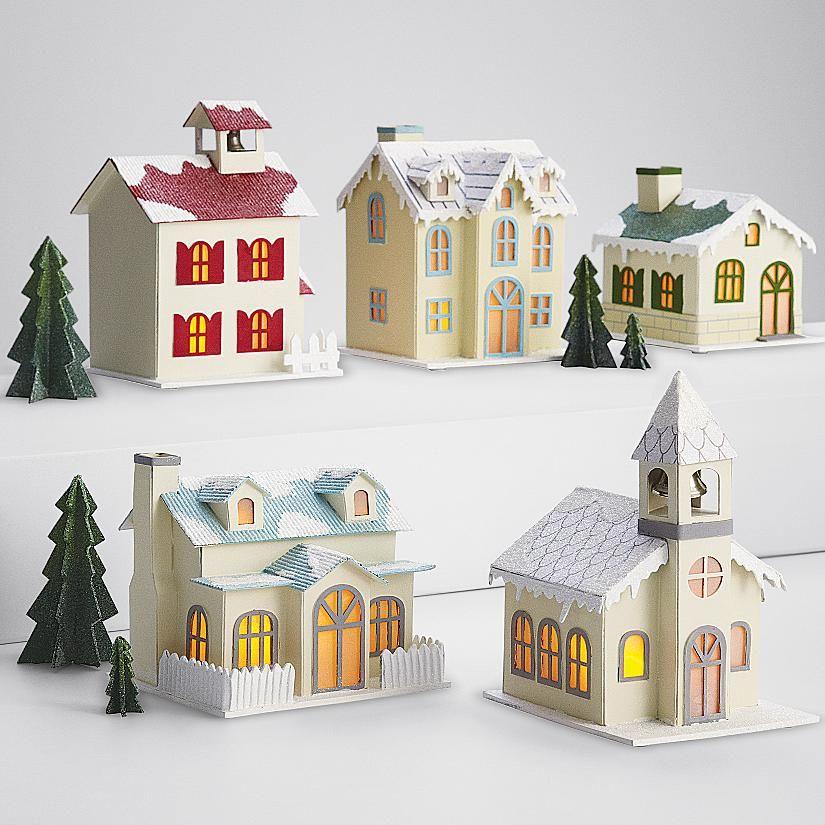 Vintage Village Luminaria Set From Redenvelope Com Christmas Village Houses Cardboard House Glitter Houses
