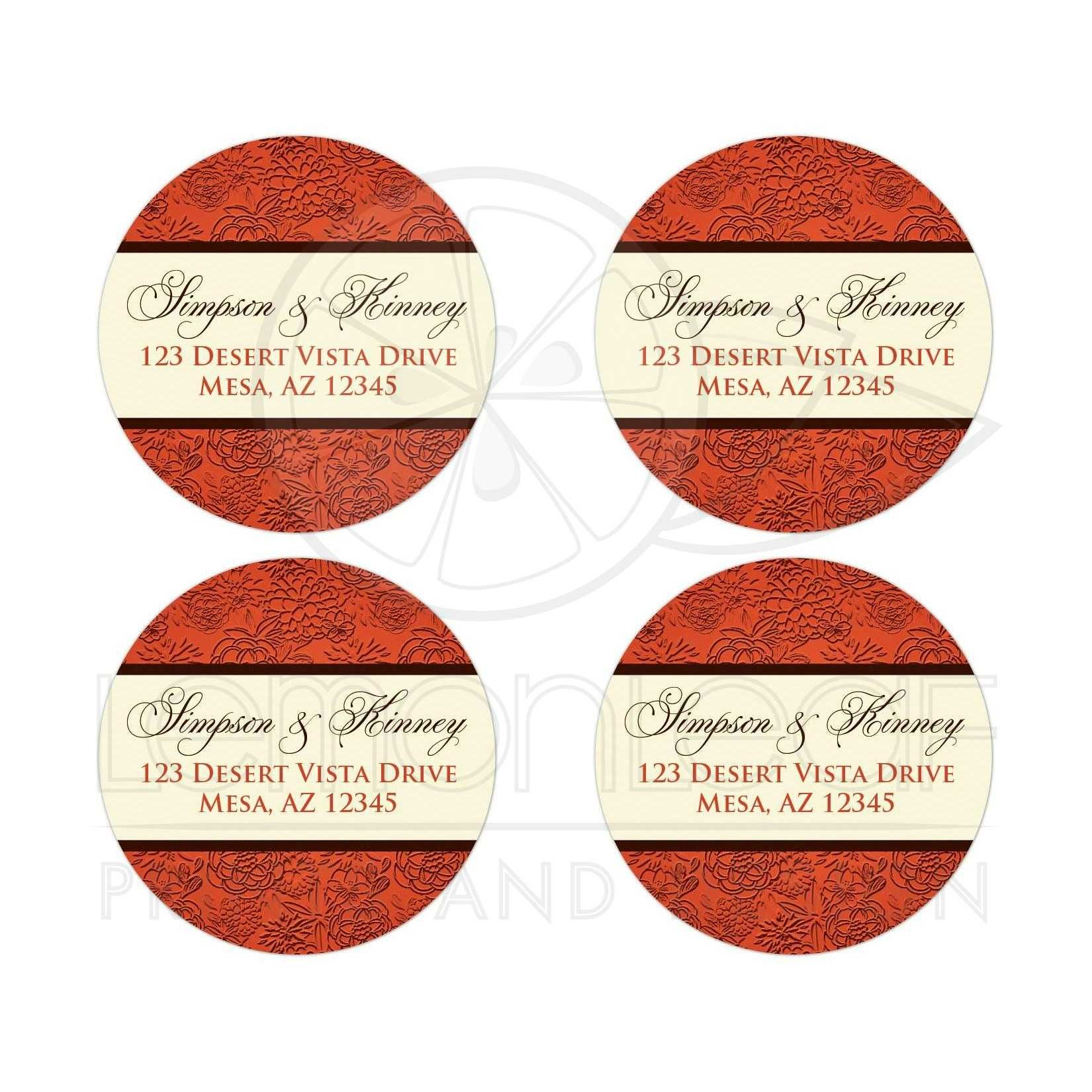 best orange, brown and cream floral wedding favor sticker or return address envelope seal