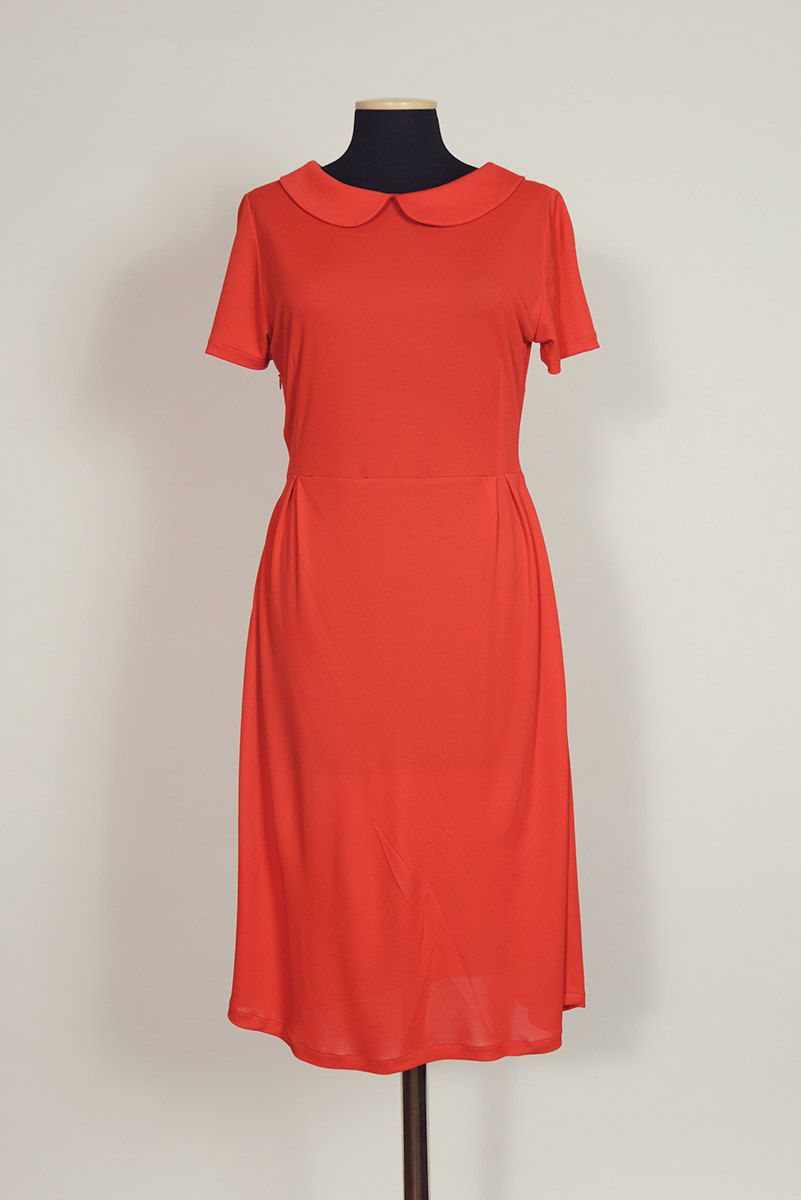 Red Peterpan Collar Gown. Handmade in Italy. - http://www.redseduce.com/red-peterpan-collar-gown-handmade-in-italy.html