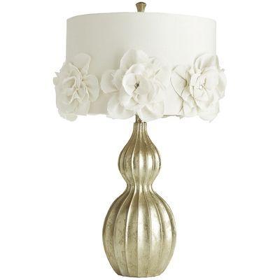 Hayworth rosette lamp from pier one on sale for 79 99 feminine fabric rosettes are