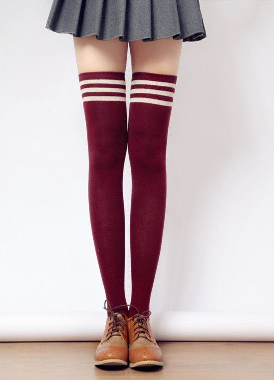0e2b5f9a4ca Tall Girls! 8 Colors Stripes Thigh High Long Socks KW153727 in 2019 ...