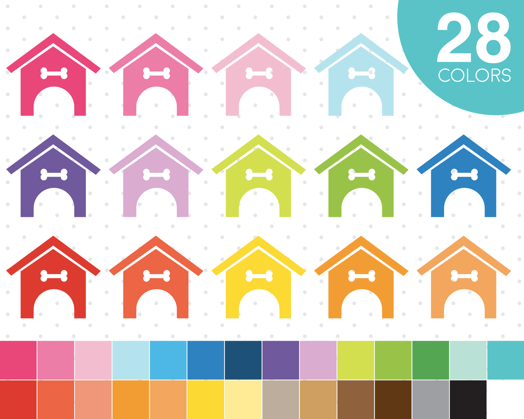 Dog House Clipart In 28 Colors Planner Clipart Icons Cl 516 Design Your Own Planner Cute Planner Clip Art