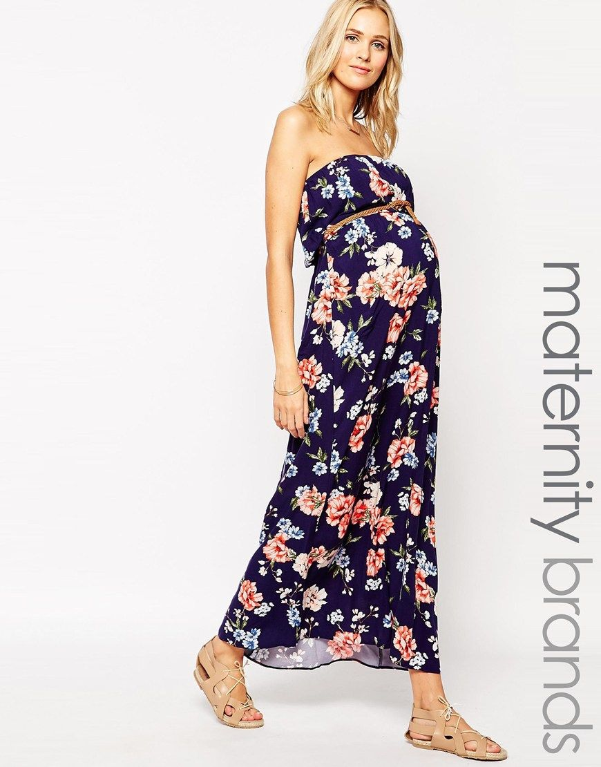 156c9926b224b New Look Maternity Belted Bandeau Maxi Dress | Maternity Clothes ...