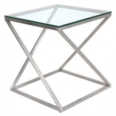Modern Square Glass And Metal Side Table Pyramid Glass Side