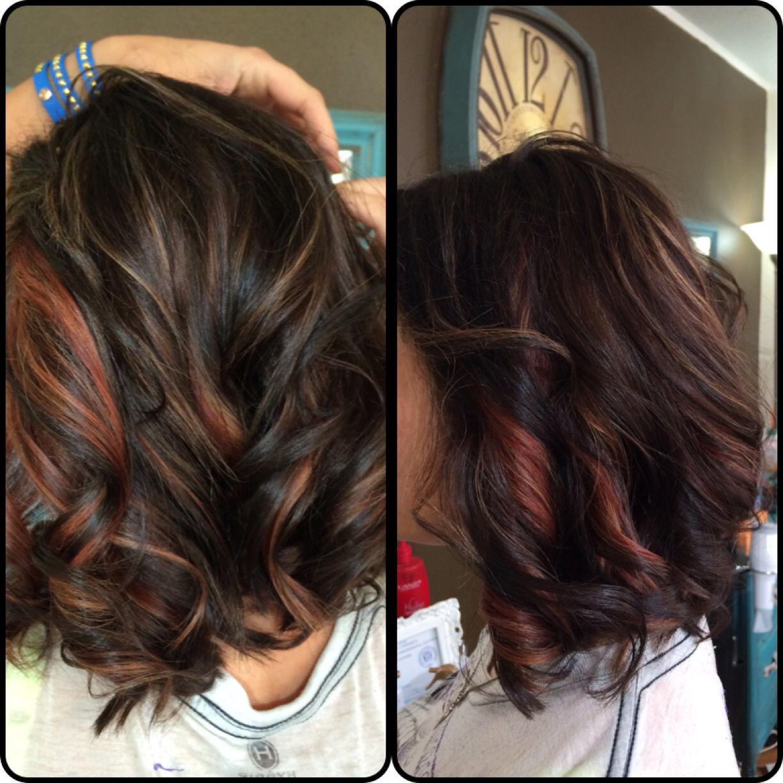 Red Caramel Highlights On Dark Hair Fehizollinger Hairbyfehi Www